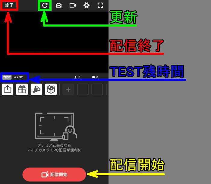 ニコ生配信アプリ番組作成後の画面