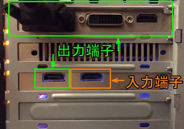 PCに取り付けたキャプチャーボードのHDMI端子